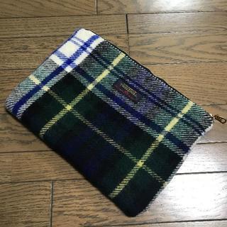 ツイードミル(TWEEDMILL)のツイードミルTWEEDMILL ウール 白×青×緑チェック柄クラッチバッグ鞄(クラッチバッグ)