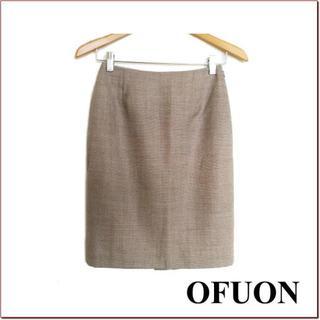 オフオン(OFUON)のOFUON◆茶オフホワイト織り込み調ウールタイトスカート◆イトキン◆36(ひざ丈スカート)