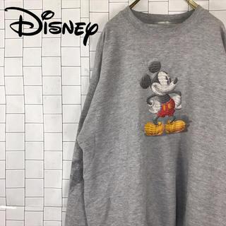 ディズニー(Disney)の古着 90s ディズニー ミッキー スウェット ビッグプリント グレー(スウェット)