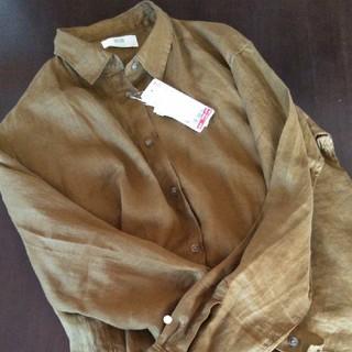 UNIQLO - UNIQLO 新品タグ付 プレミアムリネンシャツ Lサイズ 35ブラウン