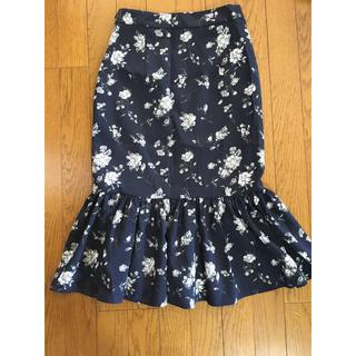 GU - ♡本日限定お値下♡GU 花柄 ネイビー マーメイド スカート S 美品♡