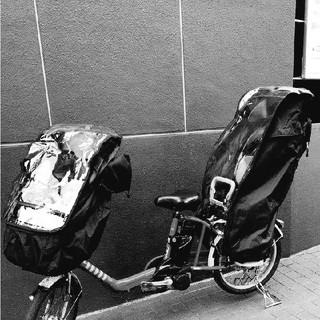 前後セット 黒 送料無料 子供載せ自転車レインカバー(自動車用チャイルドシートカバー)