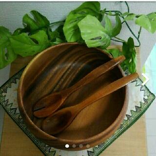 MUJI (無印良品) - アカシア 木製 サラダボール サラダスプーンつき プレート 無印良品 新品