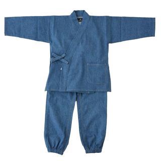 デニムの作務衣キッズ(子供用・男女兼用)110cm(ブルー×カラーステッチ)(甚平/浴衣)