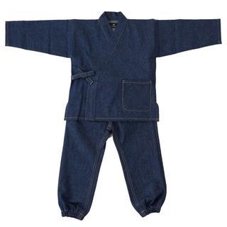 デニムの作務衣キッズ(子供用・男女兼用)100cm(ネイビー×カラーステッチ)(甚平/浴衣)