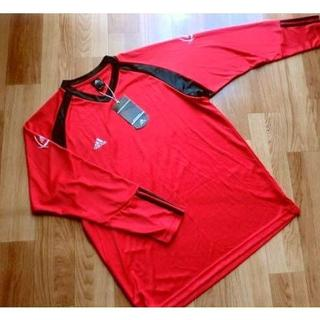アディダス(adidas)のタグ付き■ adidas アディダス■ スポーツ用・長袖Tシャツ■ 赤黒■ XO(Tシャツ/カットソー(七分/長袖))