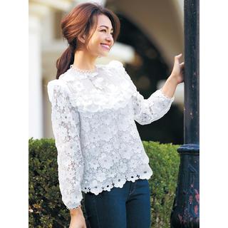 チェスティ(Chesty)のchesty チェスティ Flower Lace Blouse ホワイト(シャツ/ブラウス(長袖/七分))