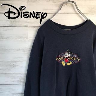 ディズニー(Disney)の90s 古着 ディズニー ミッキー デカロゴ 刺繍 スウェット(スウェット)
