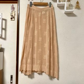 ロキエ(Lochie)のお花模様入りかぎ編みニットスカート*古着(ロングスカート)