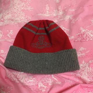 ヴィヴィアンウエストウッド(Vivienne Westwood)のヴィヴィアンウエストウッド☆赤グレーニット帽(ニット帽/ビーニー)