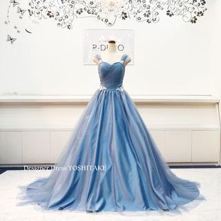 ウエディングドレス(パニエ無料) ブルーグレイチュールドレス 二次会/披露宴(ウェディングドレス)