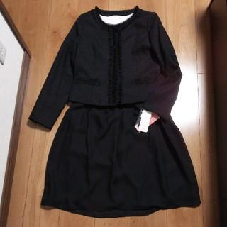 新品 ノーカラーツイードジャケット フォーマルスーツ 上下セット 黒 13号(スーツ)