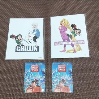 ディズニー(Disney)のシュガーラッシュ 前売り特典ポストカード2つセット&使用済みムビチケ(洋画)
