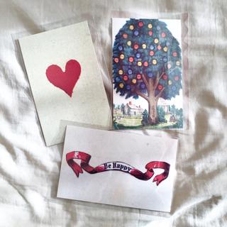 アッシュペーフランス(H.P.FRANCE)のJohn Derian ジョンデリアン ポストカード 3枚セット③ heart(切手/官製はがき)