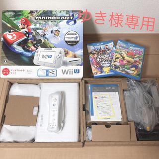 ウィーユー(Wii U)のWiiU本体 マリオカート8セット*ソフト2個・Wiiリモコン・amiibo付き(家庭用ゲーム本体)