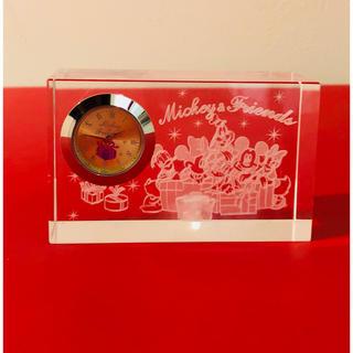 ディズニー(Disney)のミッキー&フレンズ☆プレミアムクリスタルクロック☆新品(置時計)