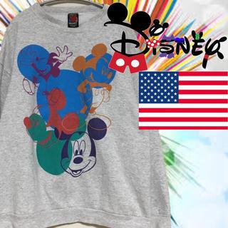 ディズニー(Disney)のUSA 古着 ヴィンテージ ミッキー スウェット トレーナー 霜降り グレー(スウェット)