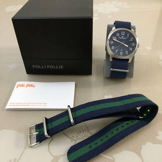 フォリフォリ(Folli Follie)のT015 美品★ フォリフォリ クオーツ 腕時計 メンズ 替えベルト付き 稼働中(腕時計(アナログ))