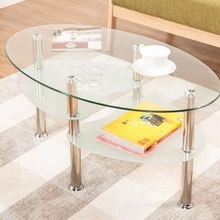 【送料無料★】おしゃれなラウンド型★ガラス天板センターテーブル(ローテーブル)