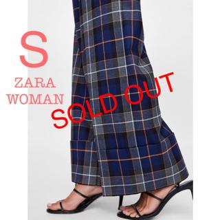 ザラ(ZARA)の新品未使用 ZARA WOMAN チェック ハイウエスト ワイドパンツ S(バギーパンツ)