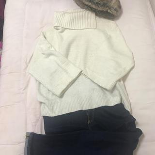 エージープラス(a.g.plus)の白タートル袖大きめニット(ニット/セーター)