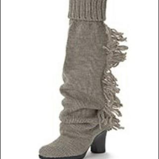 ケイカ(KEiKA)の美品 KEIKA ニットブーツ ロング グレー ヒール(ブーツ)