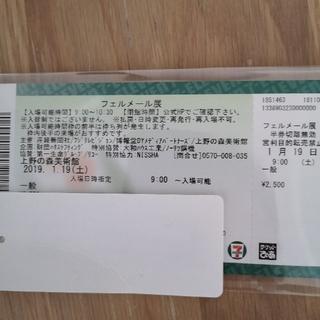 【値下げ】フェルメール展 1/19 土曜 9時 1枚(美術館/博物館)