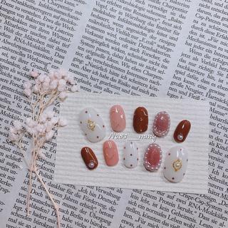 #001 ネイルチップ/ドット/パール/バレンタイン コスメ/美容のネイル(つけ爪/ネイルチップ)の商品写真