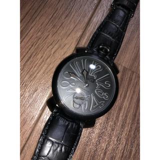 ガガミラノ(GaGa MILANO)のGAGA MILANOマヌアーレ黒×黒48mm(レザーベルト)