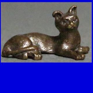 鋳銅 猫 ねこ 3940(金属工芸)