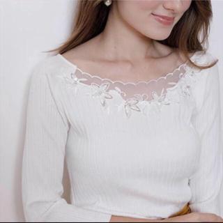 アプワイザーリッシェ シアーデコルテモール刺繍ニット サイズ2