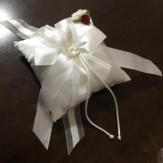 ホワイト 布製 リングピロー(リングピロー)