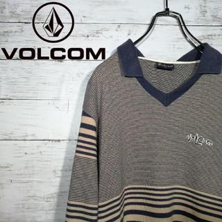 【USA製】 VOLCOM  刺繍ワンポイント ボーダー ロングTシャツ