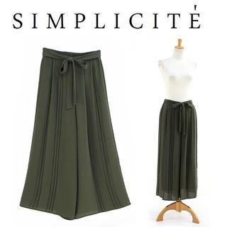 シンプリシテェ(Simplicite)の新品F CIMPLICITE プリーツパンツ ジョイントワークス(カーキ)(キュロット)