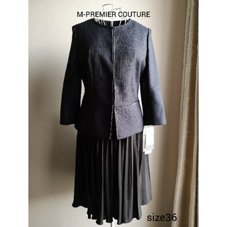 エムプルミエ(M-premier)の美品 M-PREMIER COUTUREお上品プリーツスカート(ひざ丈スカート)