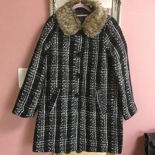ジーユー(GU)のgu 150☆取り外し可ファー衿 ツイードコート☆黒白(コート)