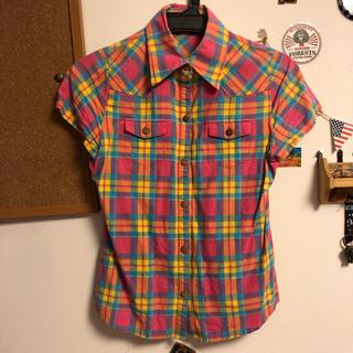ココルル(CO&LU)のココルル☆ピンクチェックシャツ☆Mサイズ(シャツ/ブラウス(半袖/袖なし))