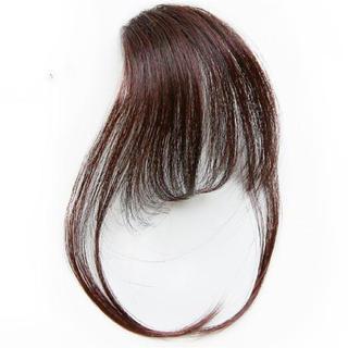 前髪ウィッグ100%人毛 サイドありダークブラウン(前髪ウィッグ)