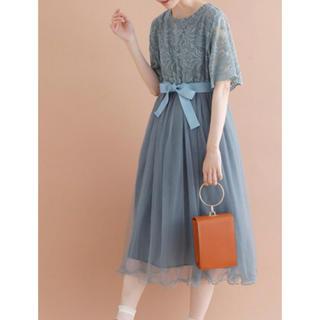 メルロー(merlot)のウエストリボンベルトチュールドレス(ミディアムドレス)