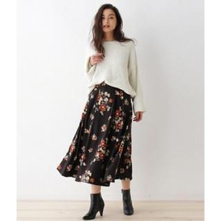 OZOC 花柄フレアミディスカート