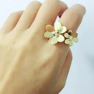 新品♡ツィンフラワーリング ゴールド(リング(指輪))