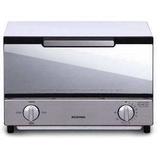 送料無料 アイリスオーヤマ オーブントースター トースト2枚 ミラー調 横型(電子レンジ)