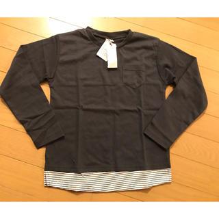 プティマイン(petit main)のプティマイン★レイヤード風ポケット付カットソー130グレー新品(Tシャツ/カットソー)