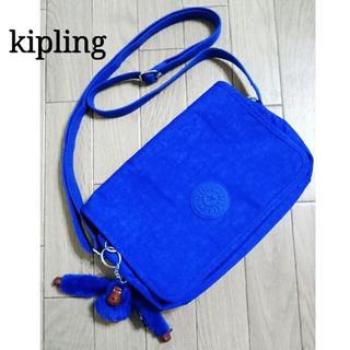キプリング(kipling)の【Kipling】キプリング/小さめショルダーバッグ収納力◎/コバルトブルー美品(ショルダーバッグ)