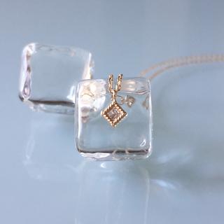 ココシュニック(COCOSHNIK)のココシュニック  K10YG  ダイヤモンド  スクエアハサミ留  ネックレス(ネックレス)