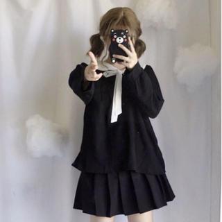 トゥアリス(To Alice)のふわとろセーラーシフォントップス ブラック(シャツ/ブラウス(長袖/七分))
