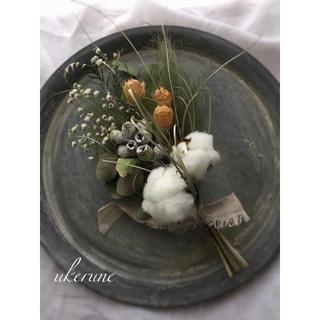 かすみ草と綿の花 テトラゴナのホワイト アンティークスワッグ ドライフラワー(ドライフラワー)