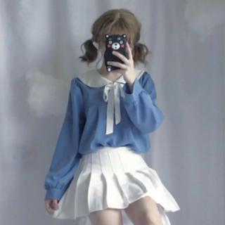 トゥアリス(To Alice)のふわとろセーラーシフォントップス ブルー(カットソー(長袖/七分))