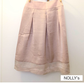 ノーリーズ(NOLLEY'S)の【NOLLY'S】新品・未使用 ピンクのサテン素材似スカート(ひざ丈スカート)