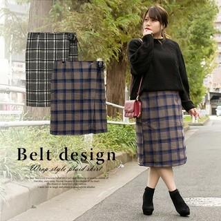 クレット(clette)のクレット●ベルトデザインラップ風チェック柄スカート(ひざ丈スカート)